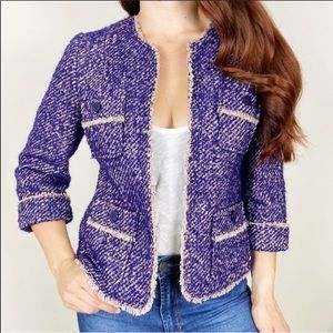 TALBOTS Purple Tweed Wool Mohair Alpaca Blazer 6P